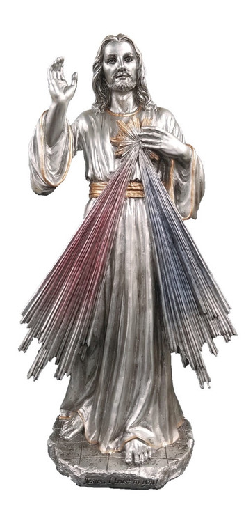 Divine Mercy, Pewter Style Finish, Golden Highlights, 12 IN  SR-75020-PE