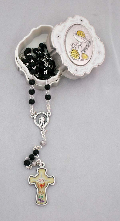 Communion Box with Black Rosary, Glass Cross GS-200