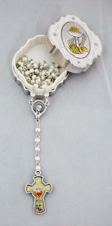 Communion Box with White Rosary, Glass Cross GS-202