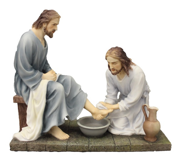 Christ washing feet in fully hand-painted color, 8.5 IN  SR-76001-C