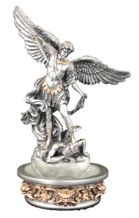 St. Michael font,Pewter Style Finish, Golden Highlights, 8 IN SR-76788-PE
