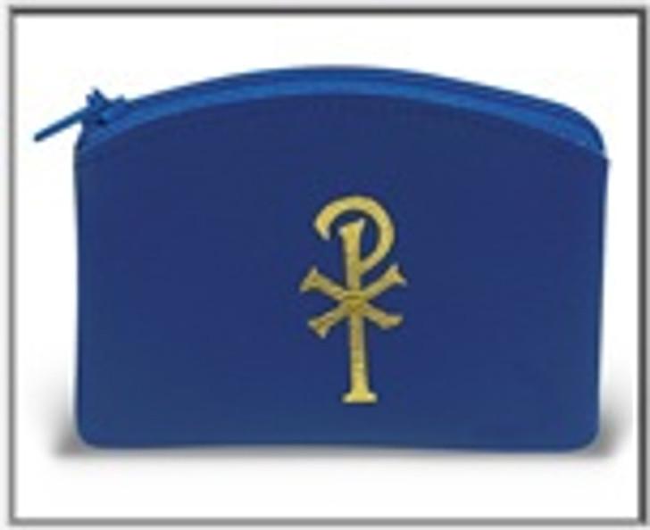 BLUE CALF GRAIN VINYL ROSARY POUCH 1676-04