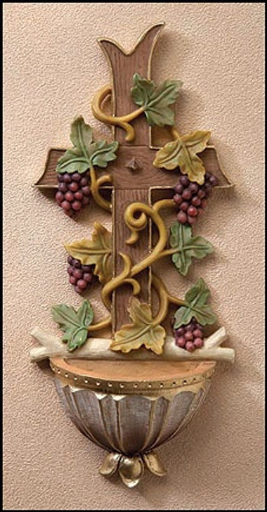 Cross And Grapes Water Font KS028