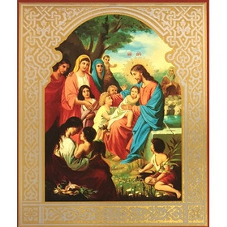Jesus with Children Blessing Children Russian Wooden Icon