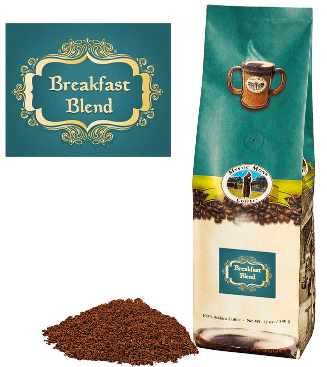Breakfast Blend Mystic Monk Coffee-Ground 12 oz