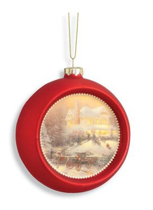 Victorian Christmas Glass Ornament, Red