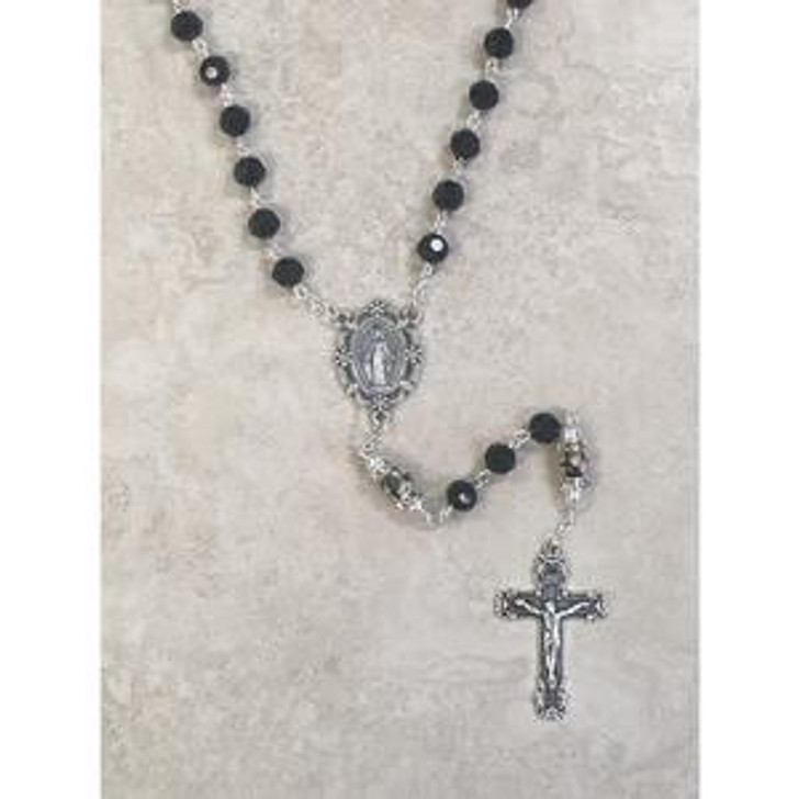 Genuine Crystal Black Bead Rosary