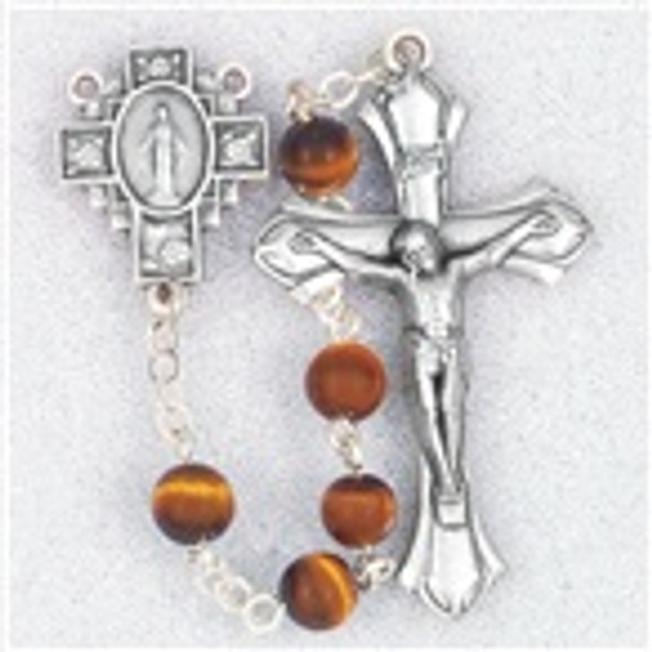 GENUINE GEM STONE TIGER-EYE BEADS HANDCRAFTED ROSARY 185TE