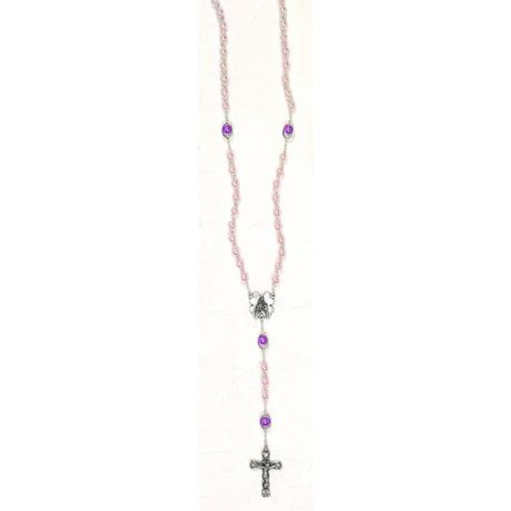 Pink Imitation Pearl Rosary - Mary Center & Oval Our Father Bead 108-16-3453