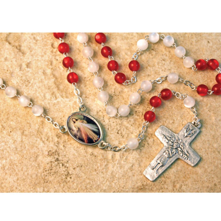 YEAR OF MERCY DM ROSARY 6MM GLASS BEADS R46