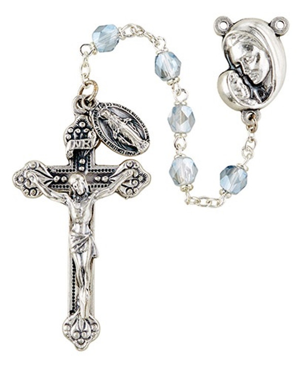 Mother's Embrace Italian Lock-Link Rosary - Silver SO6ABSL18D