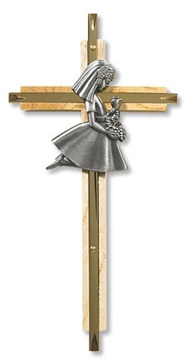 Oak/Brass First Communion Cross - Girl PT460