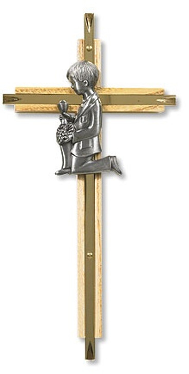Oak/Brass First Communion Cross - Boy PT459