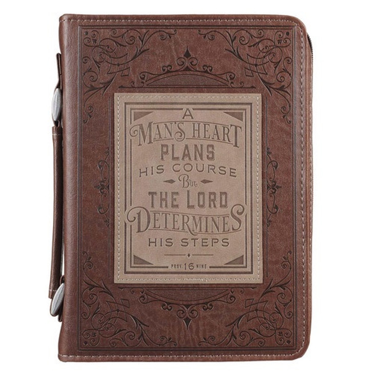 A MAN'S HEART FAUX LEATHER BIBLE COVER  - PROVERBS 16-9 BBL675