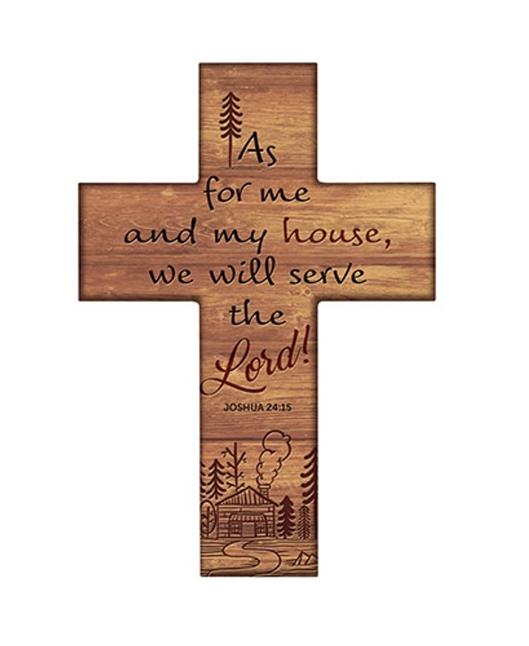 """Gerffert Inspirational 8"""" Wood Cross - Joshua 24:15 B2418"""