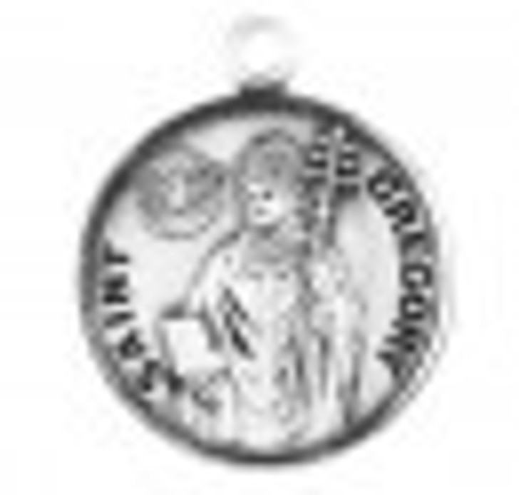 Patron Saint Gregory Round Sterling Silver Medal S9565_1