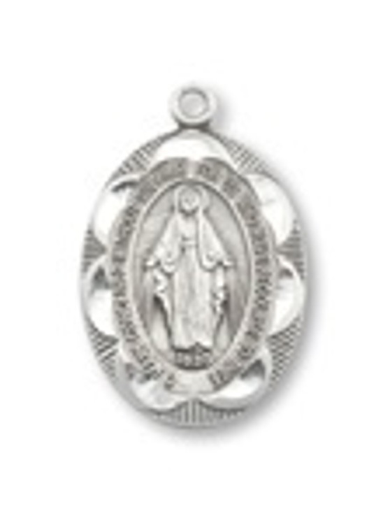 PEWTER MIRACULOUS MEDAL OVAL PENDANT P2122-18