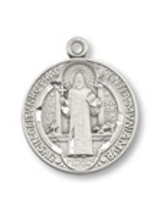 PEWTER ST. BENEDICT ROUND PENDANT P1681-24