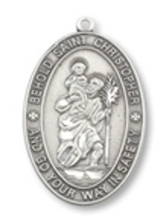 PEWTER ST. CHRISTOPHER OVAL PENDANT P1560-24