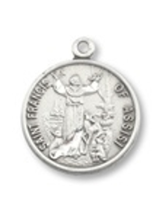 PEWTER ST. FRANCIS ROUND PENDANT P1587-24