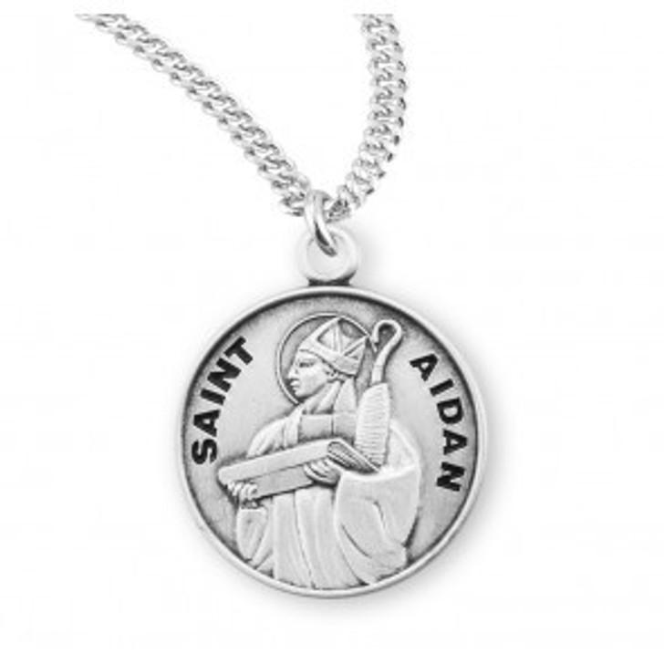 Saint Aidan Oval Sterling Silver Medal S950320