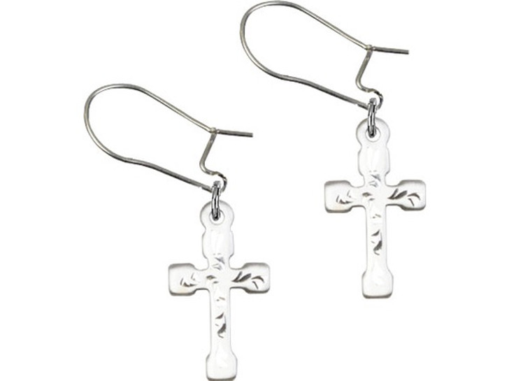 SS cross dangle earring E2519DSS