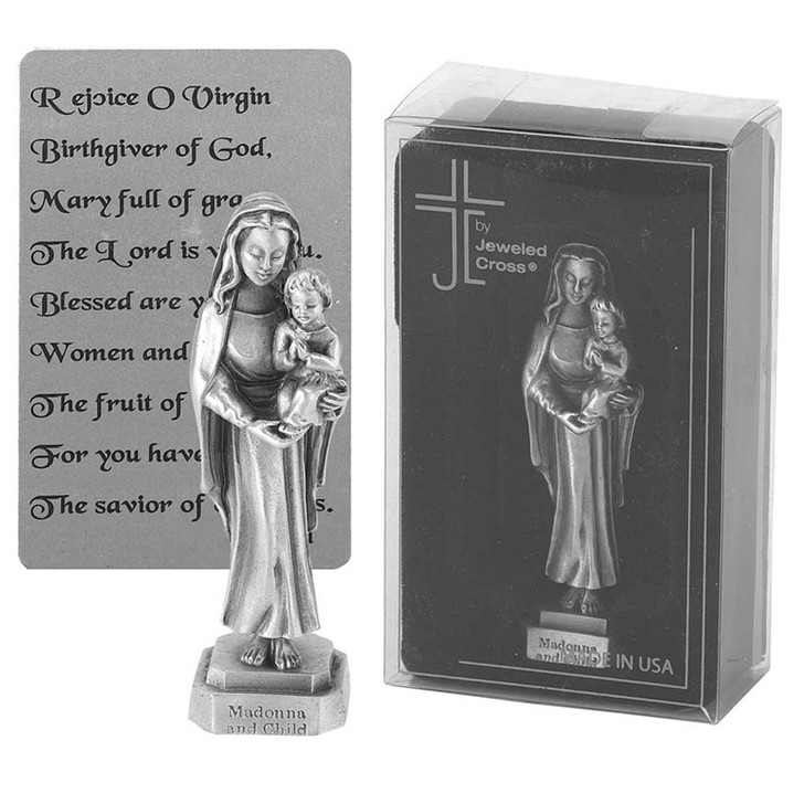 Madonna and Child pewter 3.5 in statue