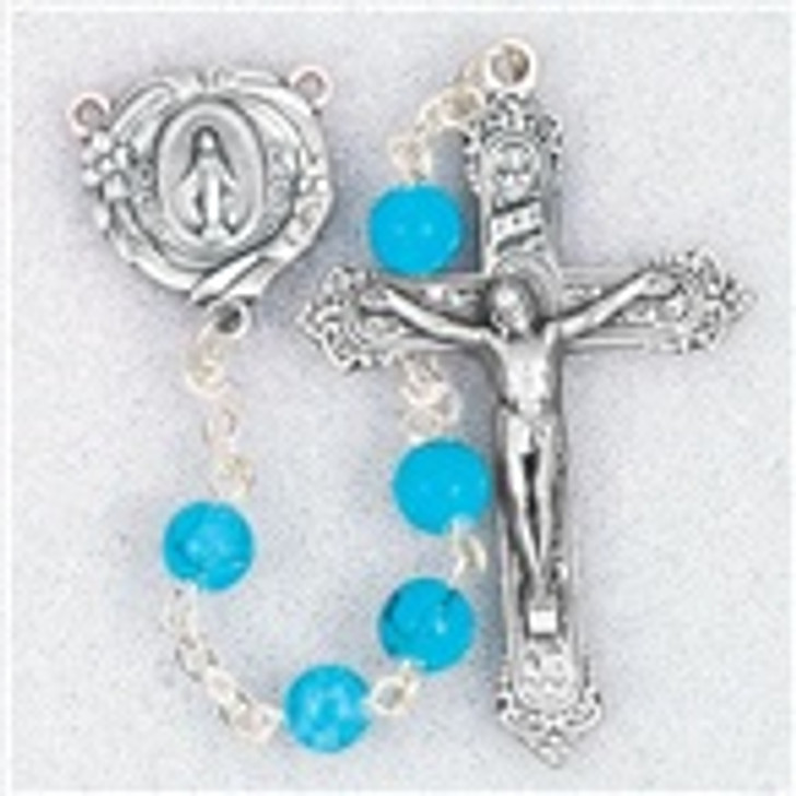 GENUINE GEM STONE TURQUOISE BEADS HANDCRAFTED ROSARY 185TQ