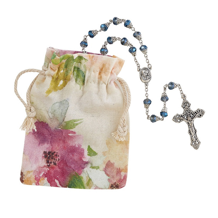 Creed® 8mm AB Cap Mother's Rosary - Blue G3013