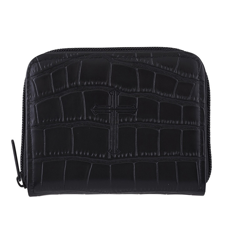 Black Crocodile Pattern Rosary Case F3154