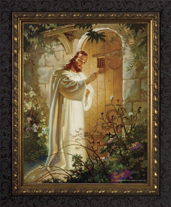 Christ at Heart's Door - Ornate Dark Framed Art WS-3C4