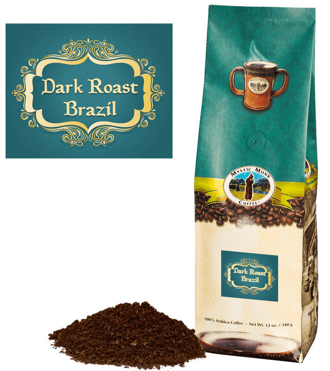 Mystic Monk Dark Roast Brazil 12 oz Ground