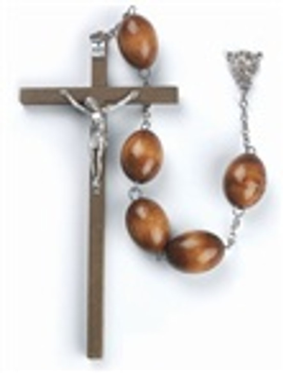 BROWN OVAL WOOD BEAD WALL ROSARY 049