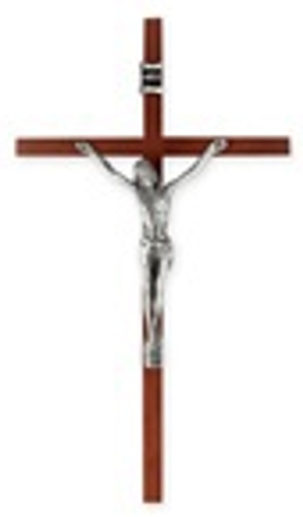 "10"" WOOD CROSS WITH ANTIQUED SILVER PLATED CORPUS 3012"