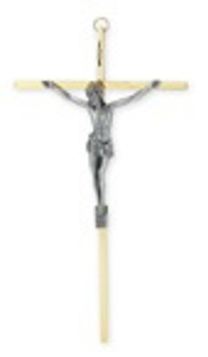 "10"" BRASS PLATED CROSS WITH ANTIQUED SILVER PLATED CORPUS 2011"