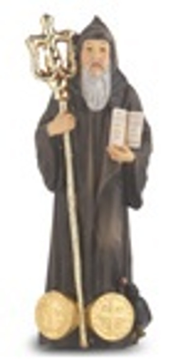 """4"""" ST. BENEDICT HAND PAINTED SOLID RESIN STATUE"""