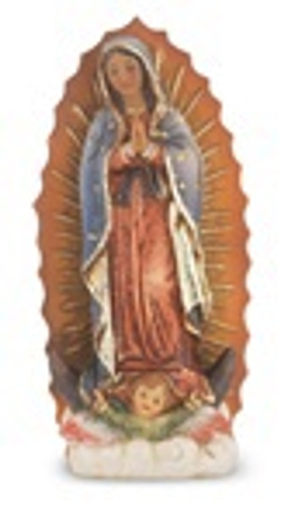 "4"" O.L. OF GUADALUPE HAND PAINTED SOLID RESIN STATUE 1735-216"