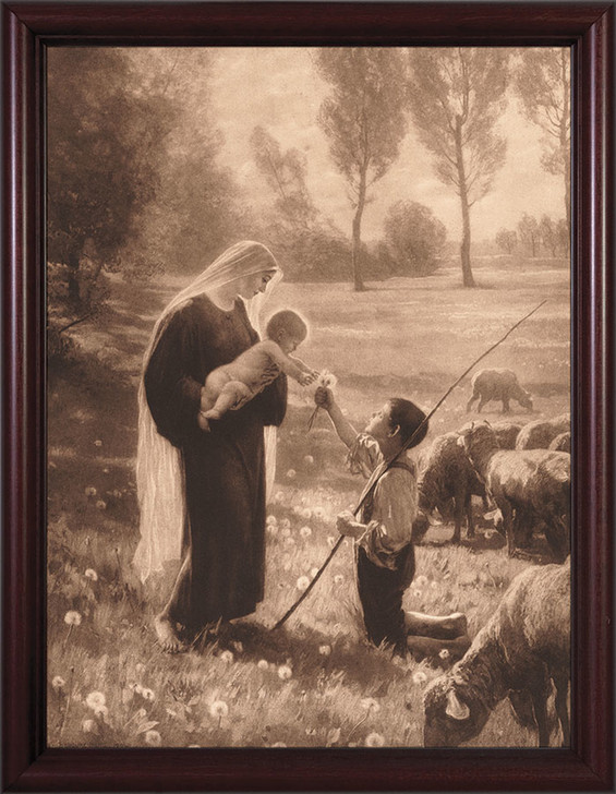 Gift of the Shepherd - Cherry Framed Art NW-2000D6