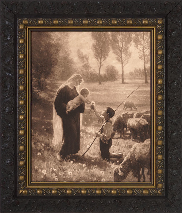 Gift of the Shepherd Canvas - Ornate Dark Framed Art nwc-2000b4