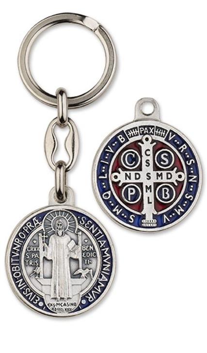 Key Ring-St Benedict-Blue Enamel MM3162