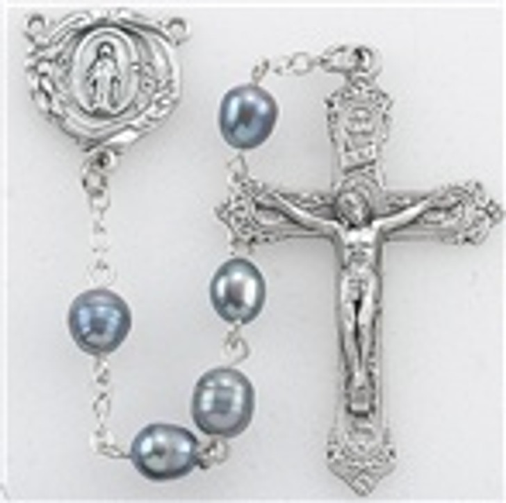 GENUINE BLUE FRESH WATER PEARL HANDCRAFTED ROSARY fp036bl
