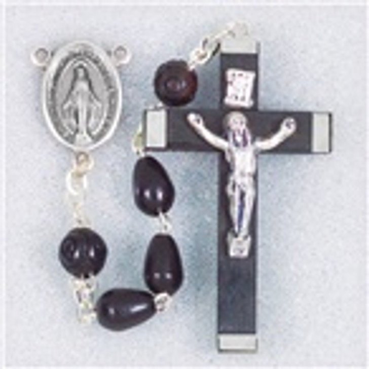 BLACK TEAR SHAPE COCOA BEADS HANDCRAFTED ROSARY 01514BK