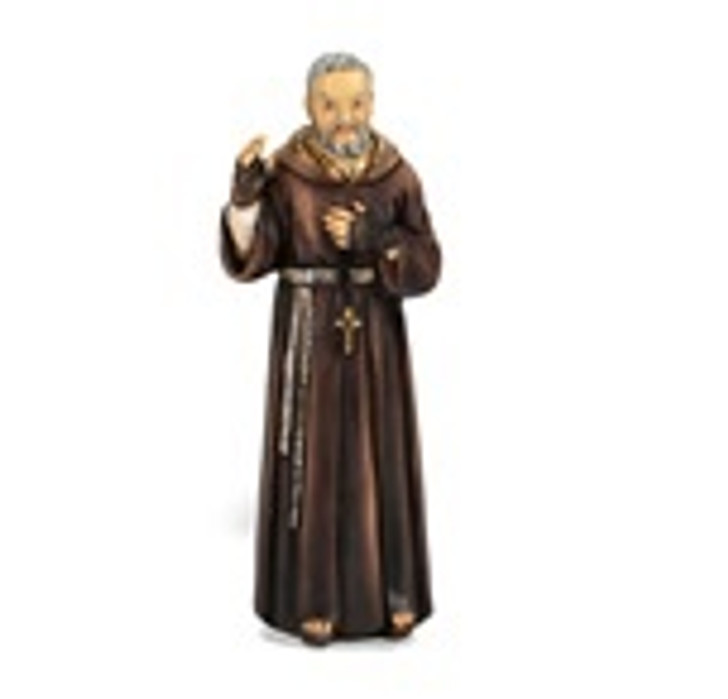 """SAINT PIO 4"""" HAND PAINTED COLD CAST RESIN STATUE BOXED 1735-523"""