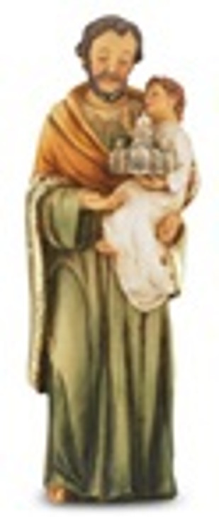 "4"" ST. JOSEPH HAND PAINTED SOLID RESIN STATUE 1735-630"