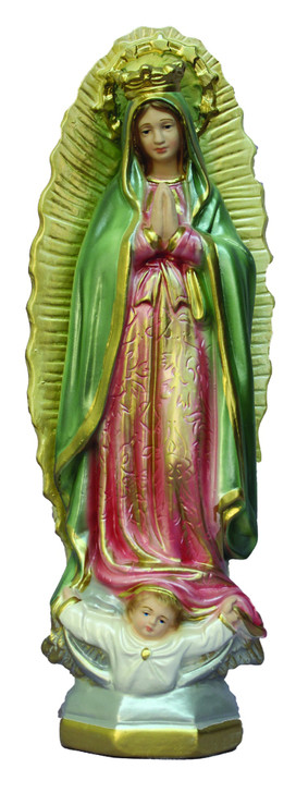 Our Lady of Guadalupe, hand-painted ceramic, pearl finish, 12""