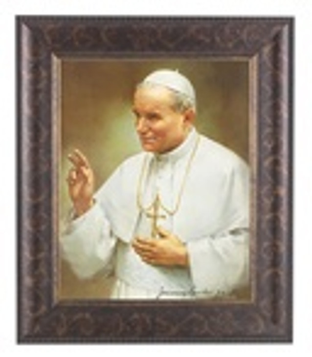 JOHN PAUL II IN AN ART-DECO STYLED FRAME IN A DISTRESSED GOLD DECORATIVE AND ANTIQUE GOLD LIP 124-570