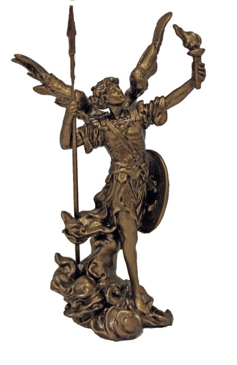 Archangel Uriel, cold cast bronze, lightly hand-painted, 4inches