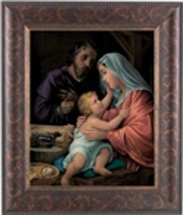 HOLY FAMILY IN AN ART-DECO STYLED FRAME IN A DISTRESSED GOLD DECORATIVE AND ANTIQUE GOLD LIP 124-363