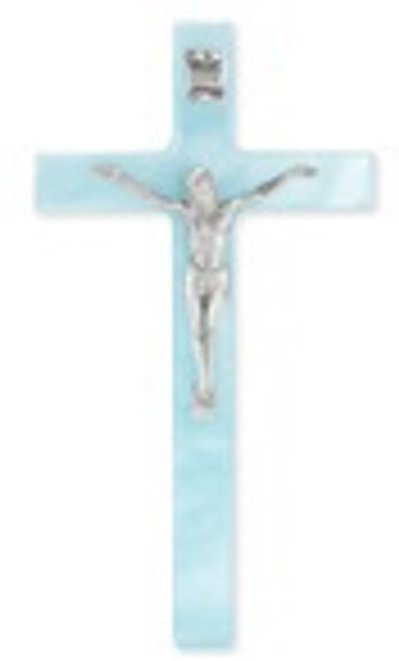 PEARLIZED BLUE CROSS WITH FINE PEWTER CORPUS 41P-7BP