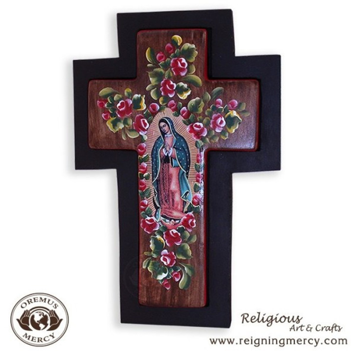 Hand Crafted and Painted Ceramic Cross Mounted on wood of Our Lady of Guadalupe
